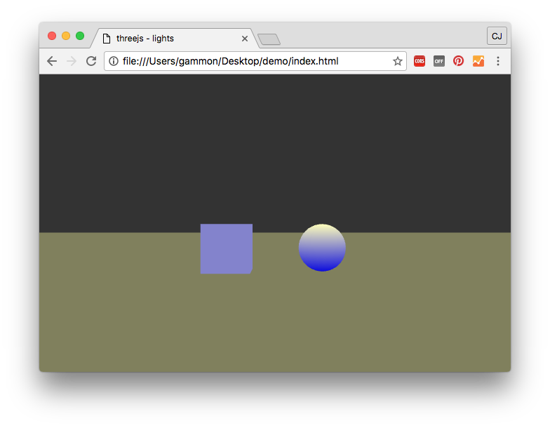 Transparent shadows sphere. Three js lights and