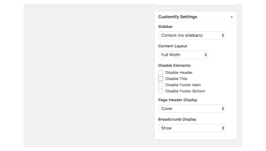 Transparent sidebar transperent. Page settings customify