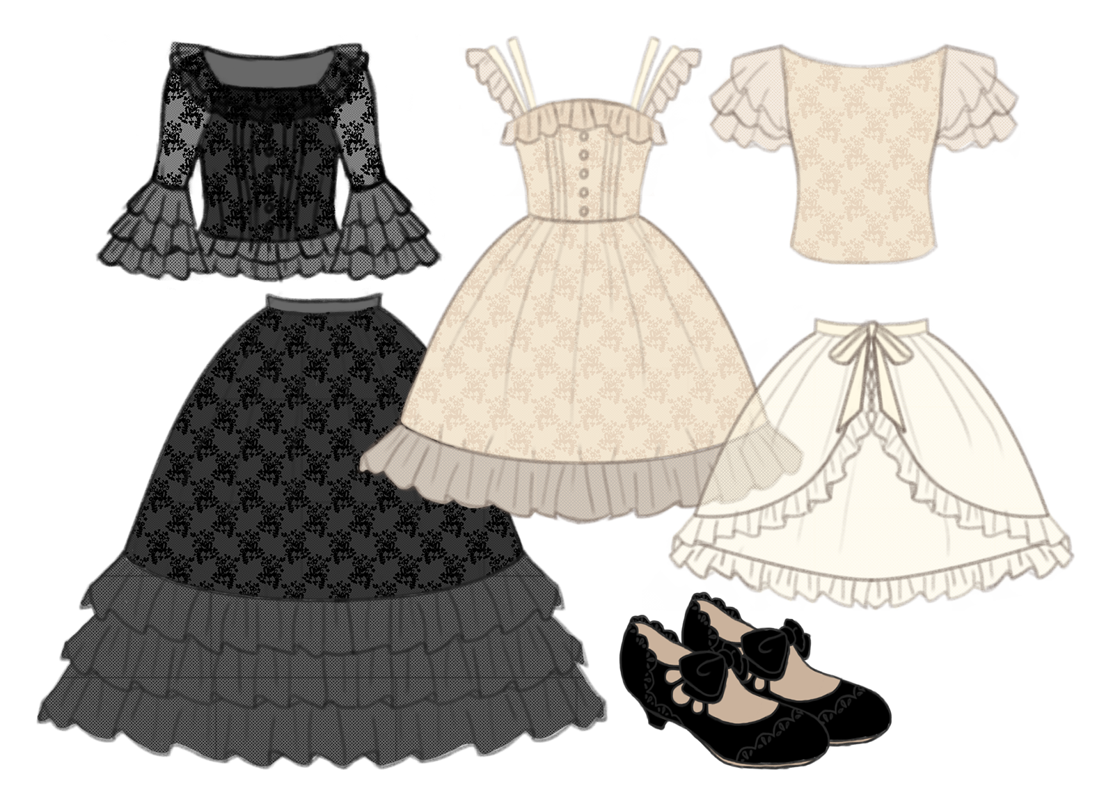 Transparent skirts shee. Princess layer collection fluffy