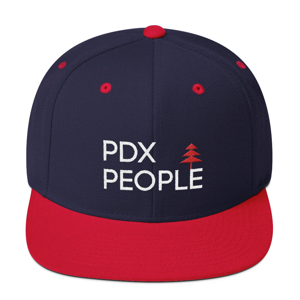 Transparent snapback plastic. Pdx people navy red
