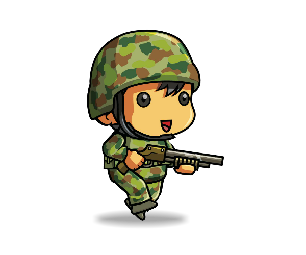 Transparent soldier animated. Tiny game art partners
