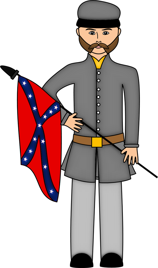 Transparent soldier civil war. Collection of free confederating