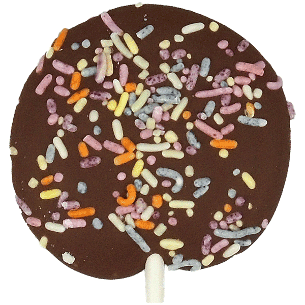Transparent sprinkles chocolate. Milk party pop with