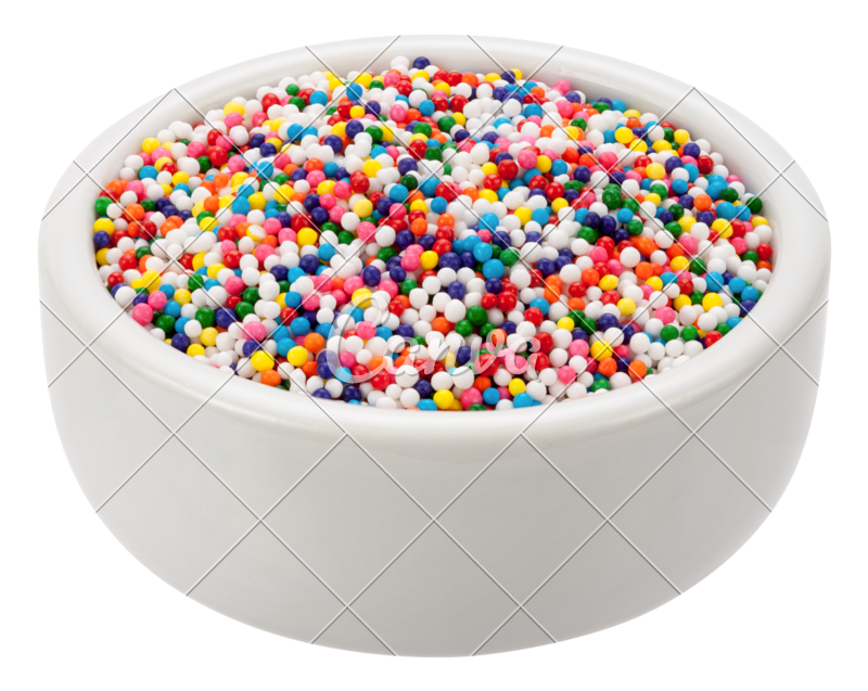 Transparent sprinkles pile. In a bowl photos