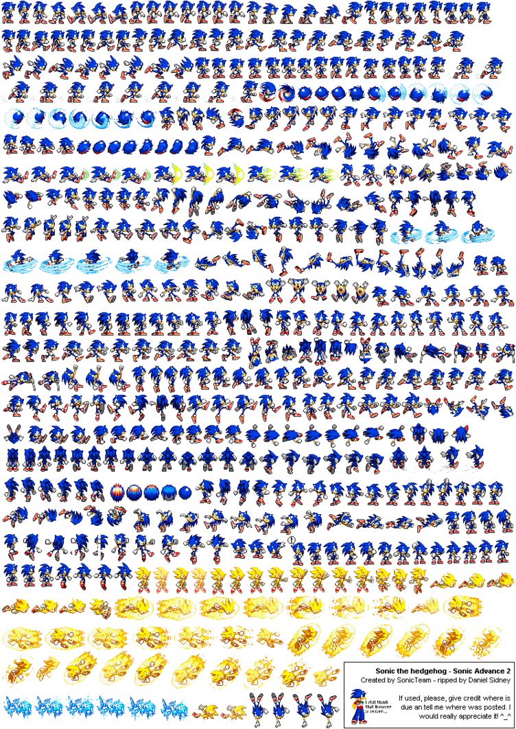 Transparent sprite sonic. Advance sheet by lucario