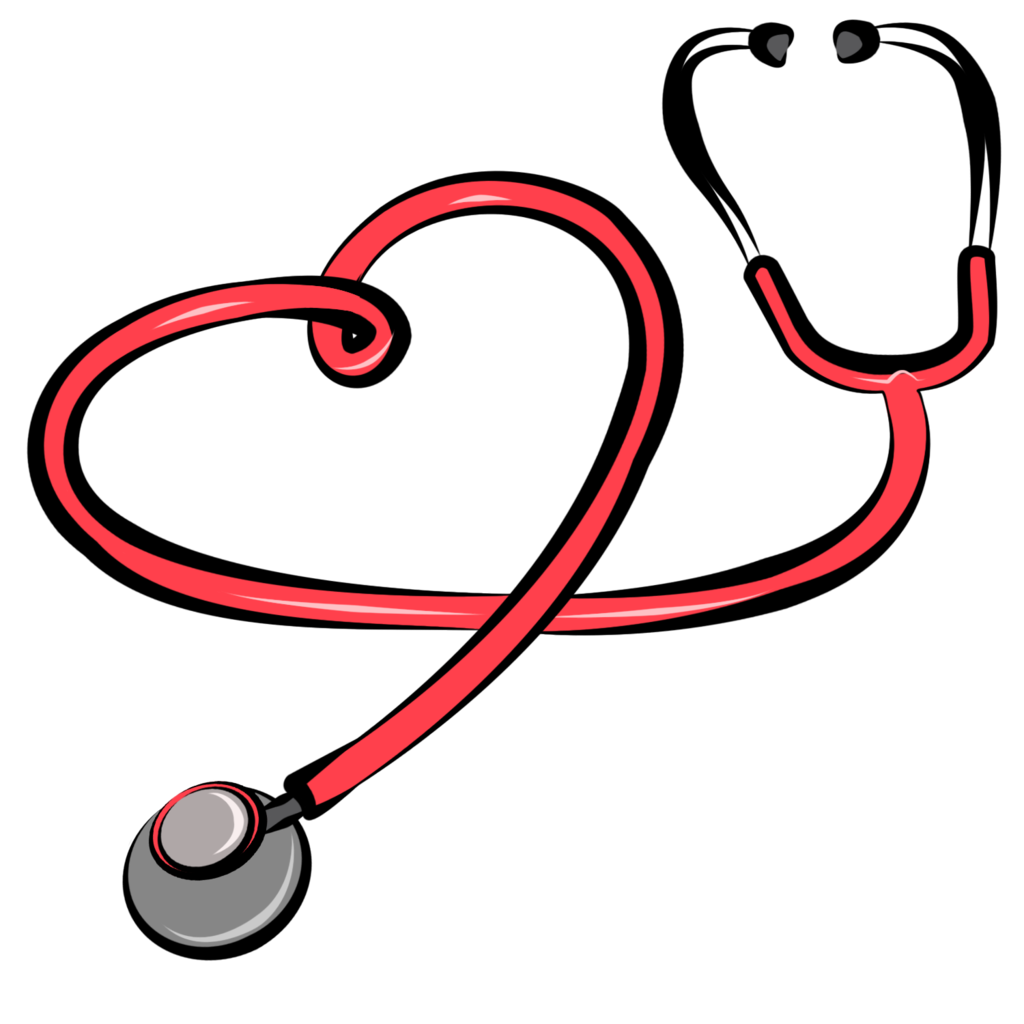 Transparent stethoscope nurse practitioner. Collection of with