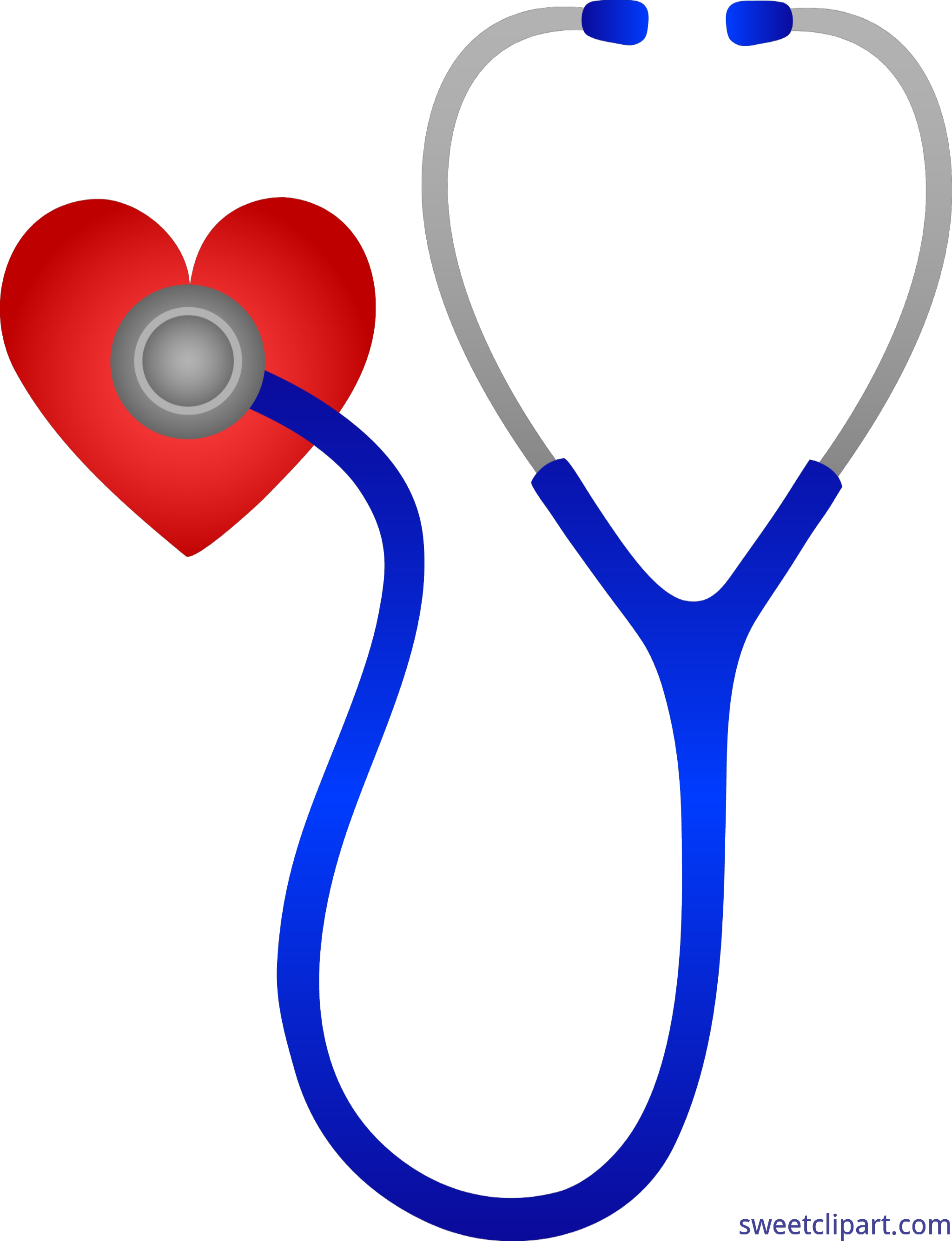 Transparent stethoscope uses. Doctors with heart clip