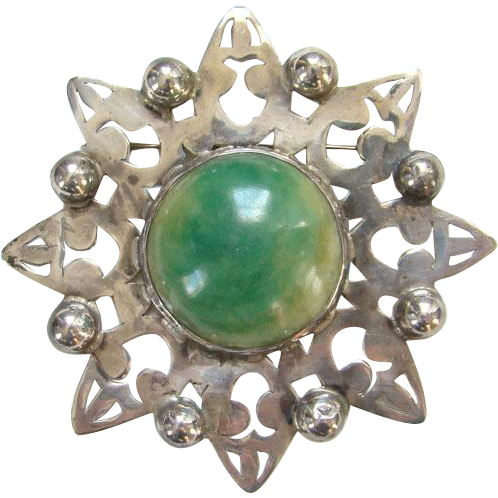 Transparent stones cabochon. Old large mexico silver
