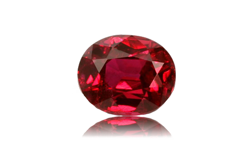 Transparent stones ruby. Artistry in gold birthstones