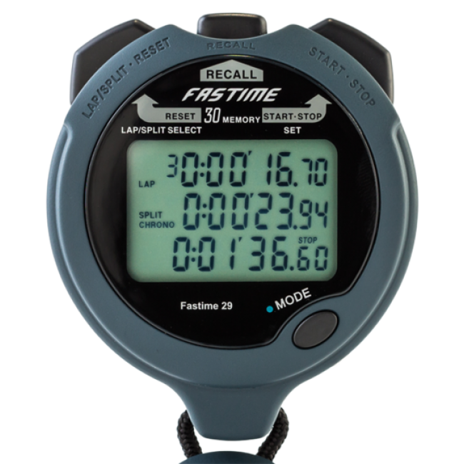 Transparent stopwatch fastime. Lap memory physiosupplies with