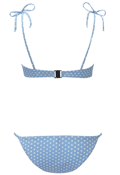 Transparent string back. Nicole cornflower polka dot