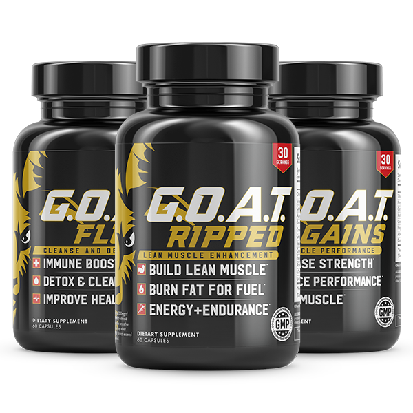 Transparent supplements stack. The g goat