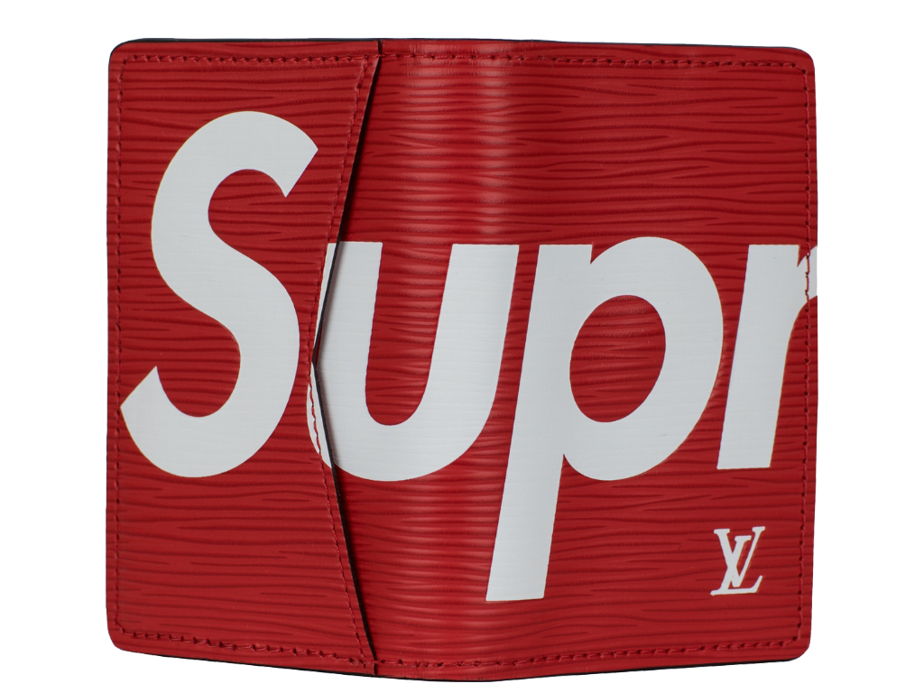 Transparent supreme red rectangle. Louis vuitton x pocket