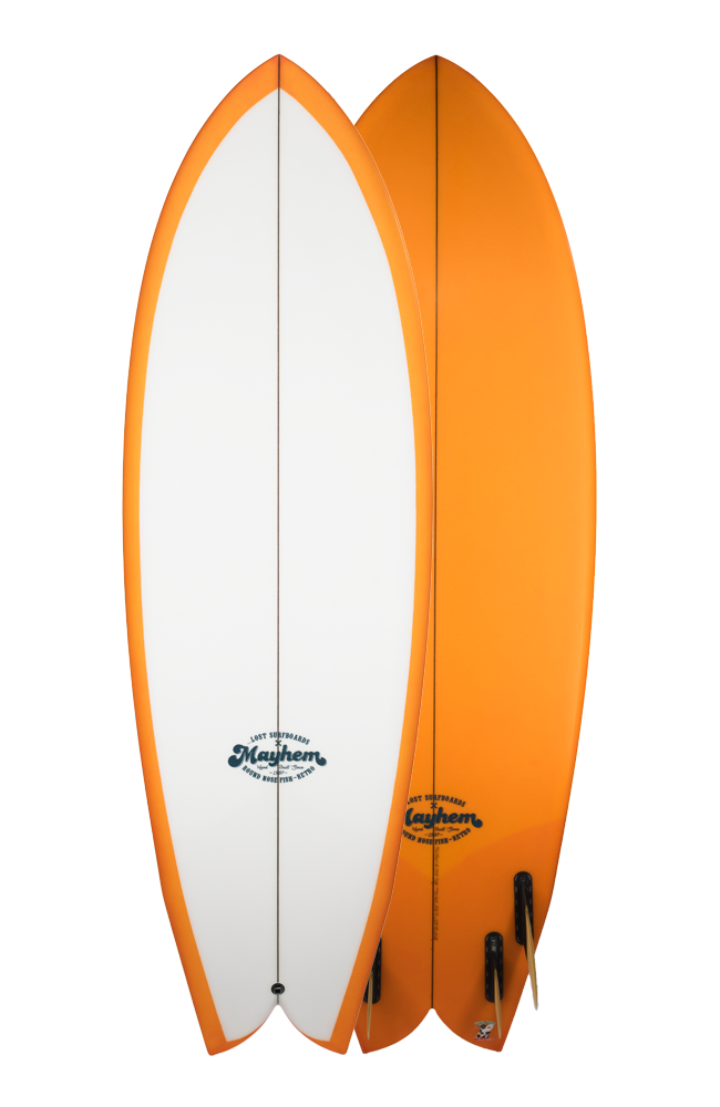 Transparent surfboard orange pink. Surfboards lost by mayhem