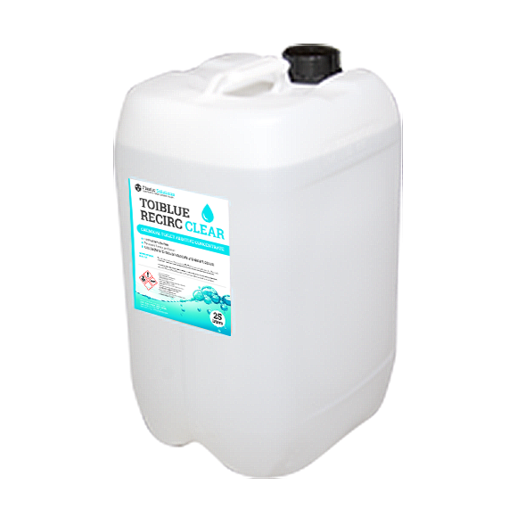 Transparent tank clear water. Waste cleaner and sanitiser
