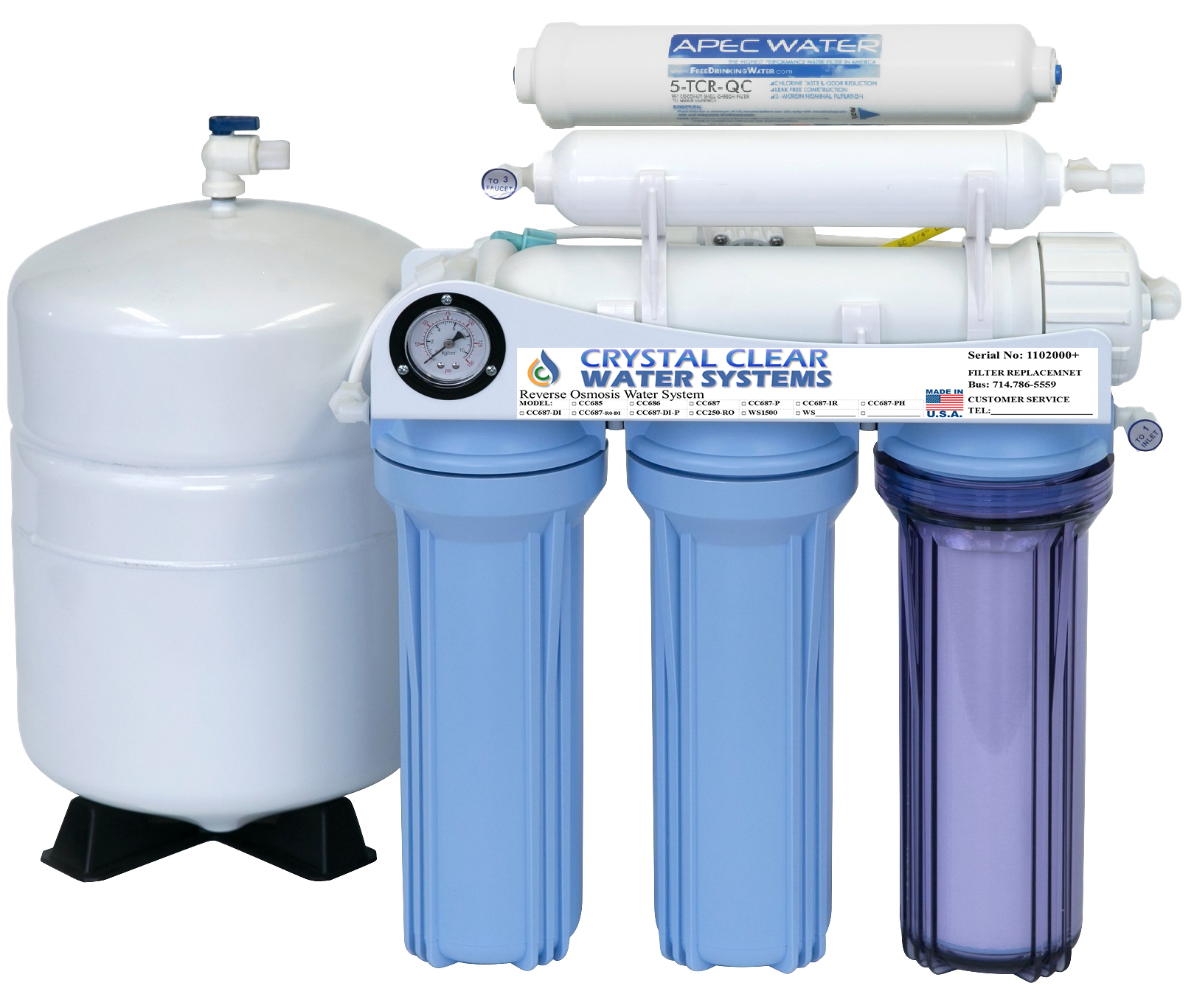 Transparent tank clear water. Filtration in garden grove