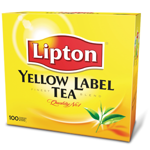 Transparent tea lipton. Yellow label