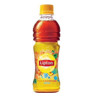 Transparent tea lipton. Ice peach flavored drink