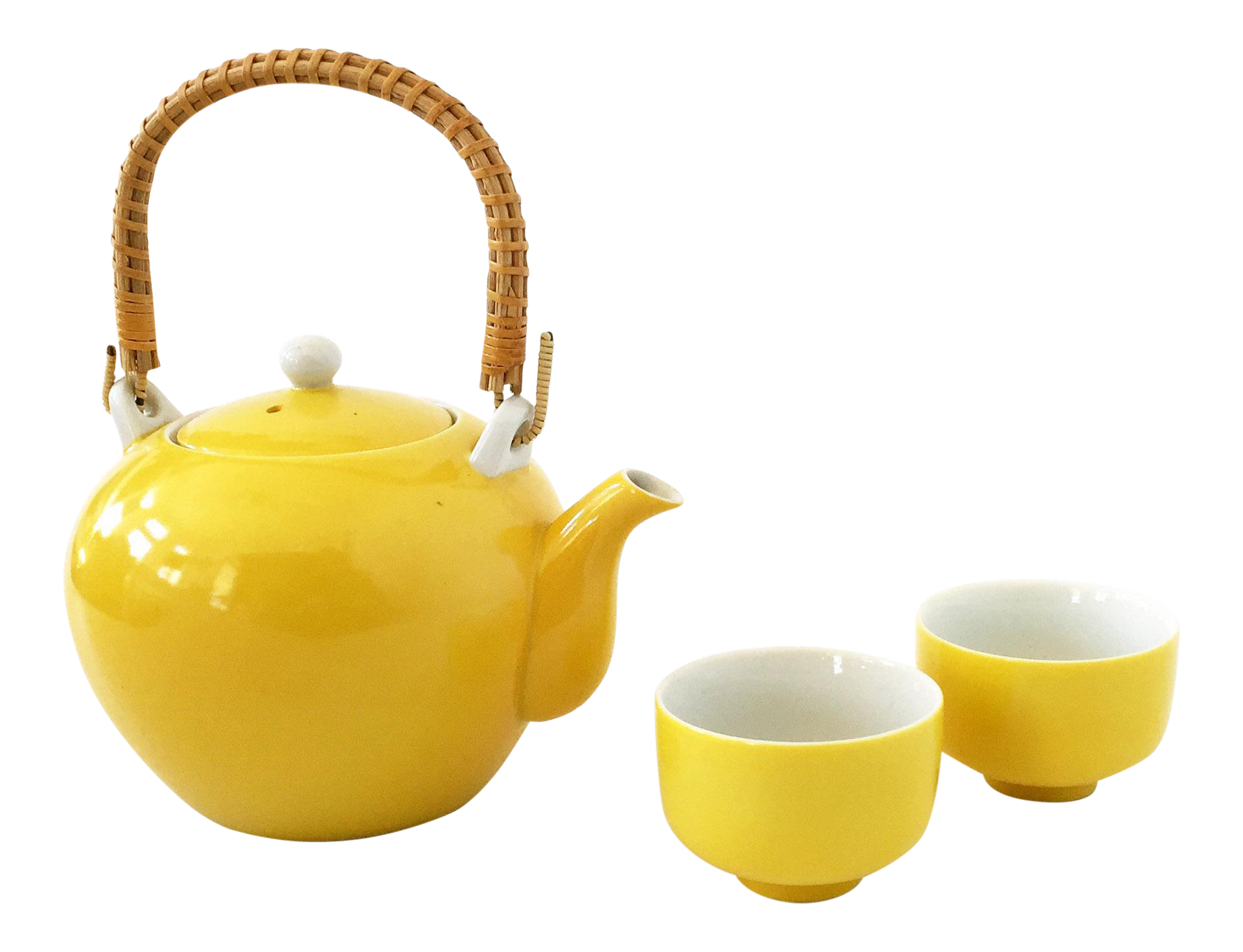 Transparent tea yellow. Vintage set chairish
