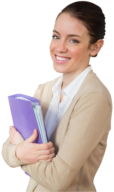 Transparent teacher background. A young female holding