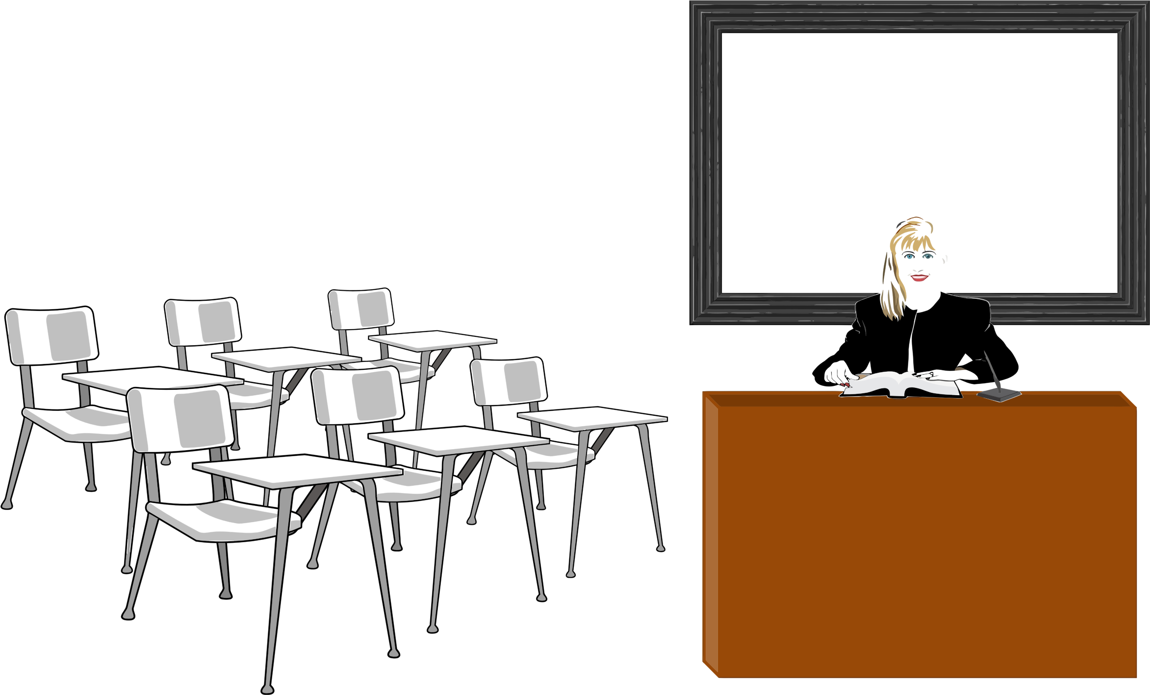 Transparent teacher classroom. Collection of free coursed