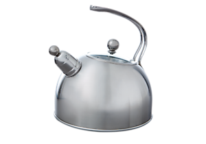Transparent teapot induction. Whistling kettle l with