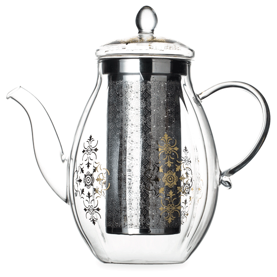 Transparent teapot infuser. Starry night glass with