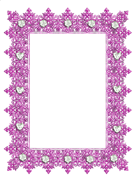 Transparent templates photo frame. Pink with diamonds borders