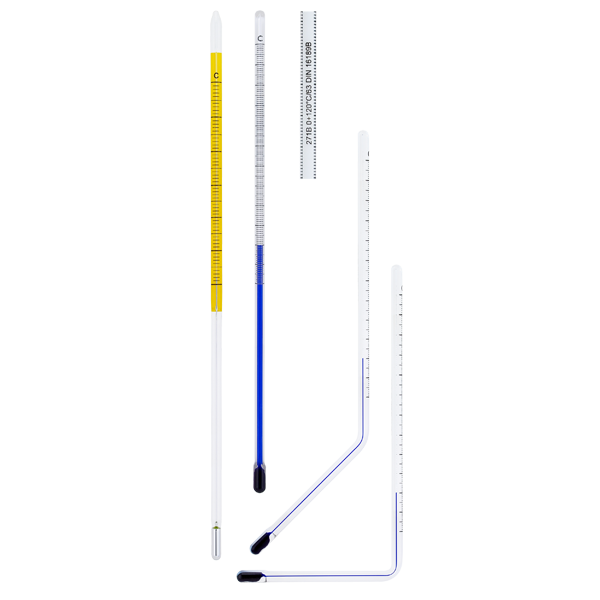 Transparent thermometer glass. Inserts for industrial version
