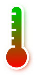 Transparent thermometer green. Red to gradient clip