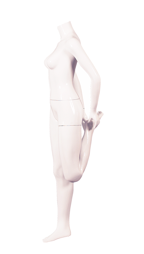 Transparent tights white gloss. Stretching female active mannequin