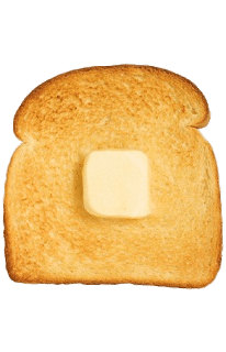 Transparent toast. Cube of butter on