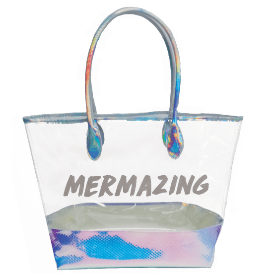 Transparent totes holographic. Mermaizing clear tote bag