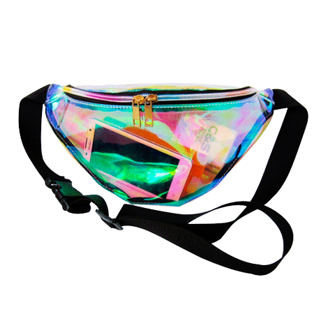 Transparent totes holographic. Itgirl shop belt bag