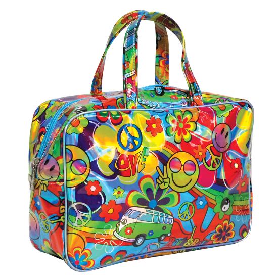 Transparent totes holographic. Hippie love large cosmetic