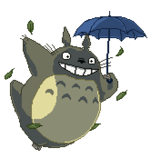 Pixel by g on. Totoro umbrella png png black and white download