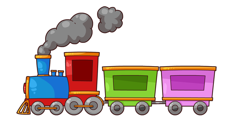 Transparent train cartoon. Collection of clipart