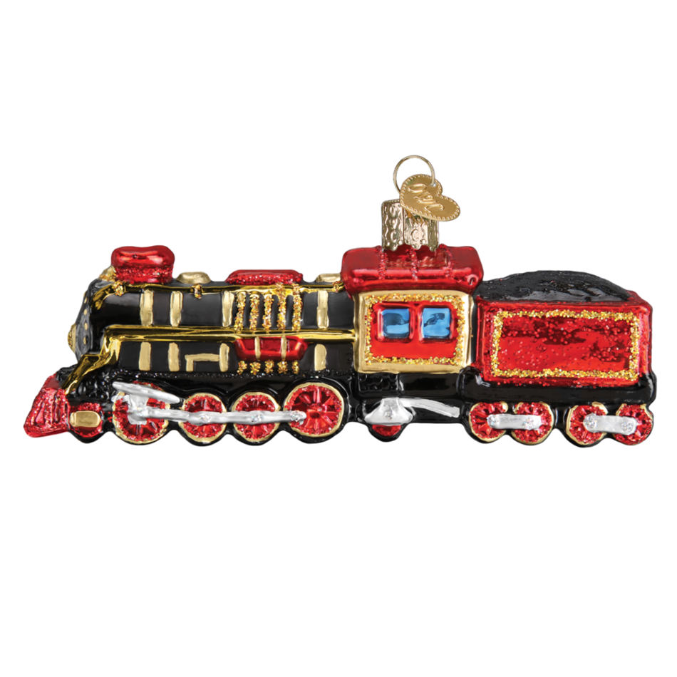 Transparent train christmas. Ornament old world