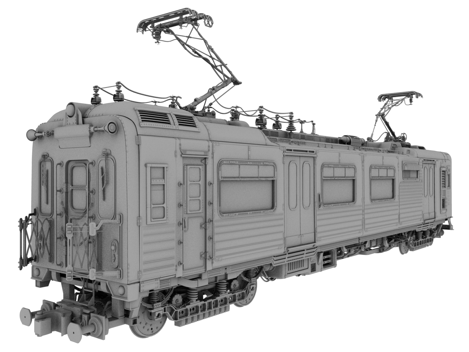 Transparent train model. Modeling the with automatic