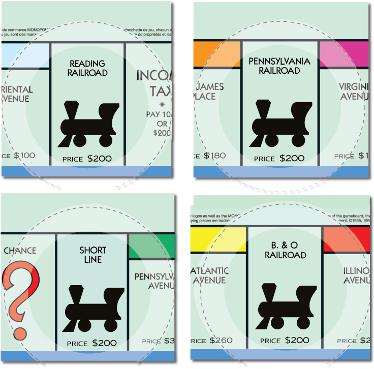 Transparent train monopoly. Collection of free chace