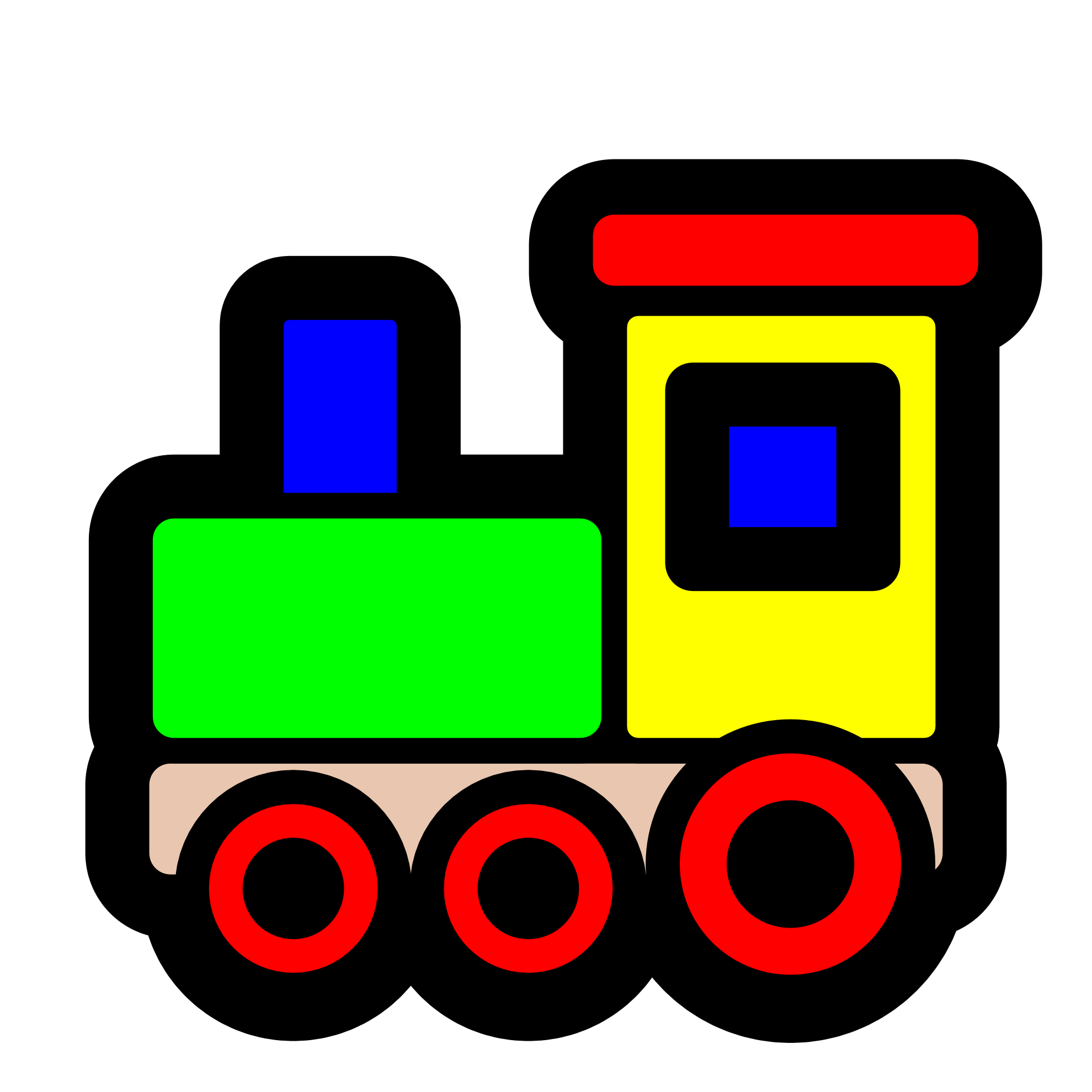 Transparent train toy. Banner black and