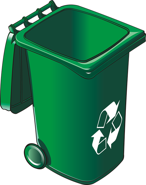 Transparent trash recycle bin. Free photo recycling recyclable