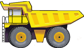 Transparent trucks construction. Collection of dump