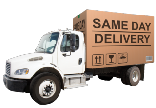 Truck transparent courier. Same day service companies