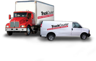 Truck transparent courier. Same day delivery service