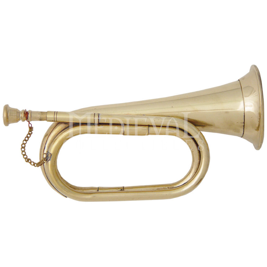 Transparent trumpet medieval. Brass bugle on from