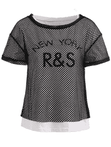 Transparent tshirt fishnet. Graphic tee and