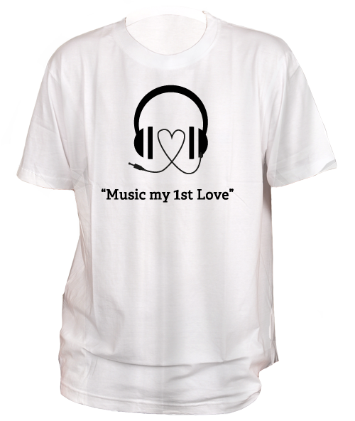 Transparent tshirt round neck. Music my st love