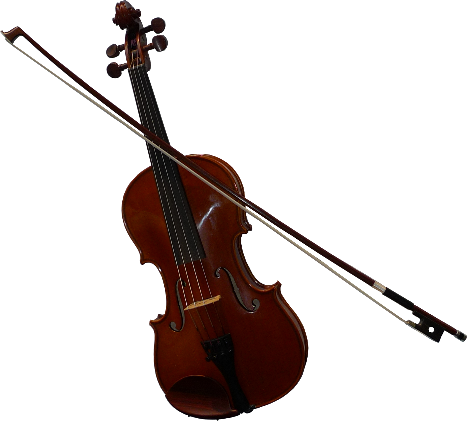 Transparent violin. File with bow png