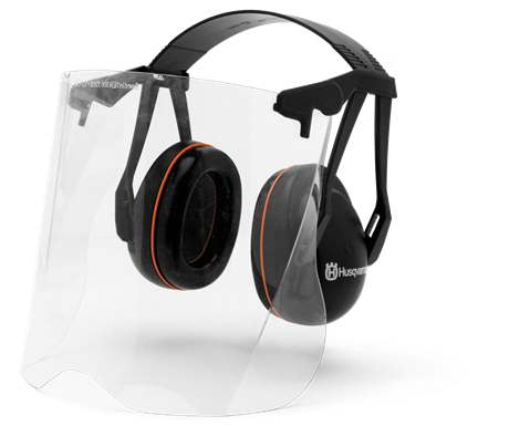 Transparent visors perspex. Husqvarna garden earmuffs with